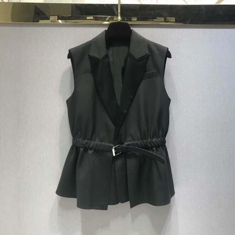 Women 2018 fashion v neck ruffles vests at180721