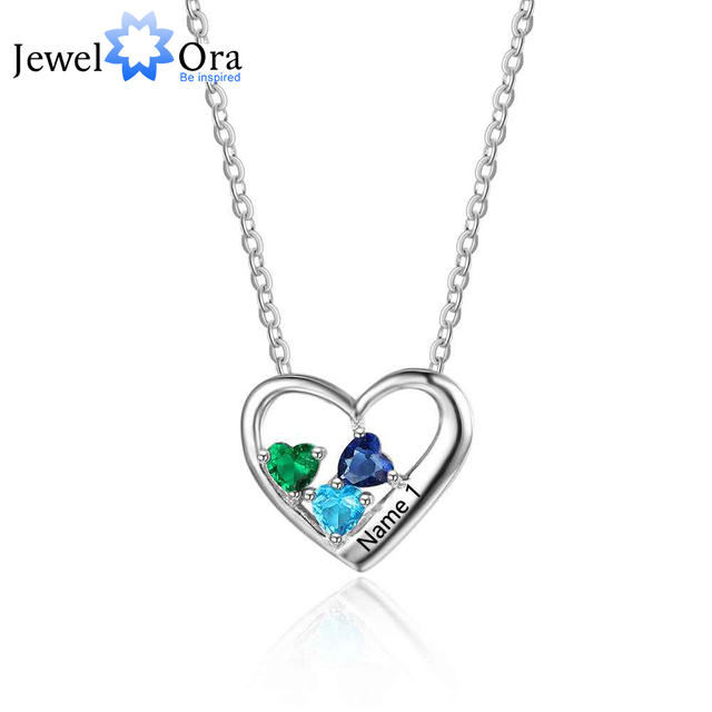 2419d6a84f Personalized 925 Sterling Silver 3 Birthstone Necklace Pendant Customize  Name Necklace Gift for Mom Girlfriend JewelOraNE101879