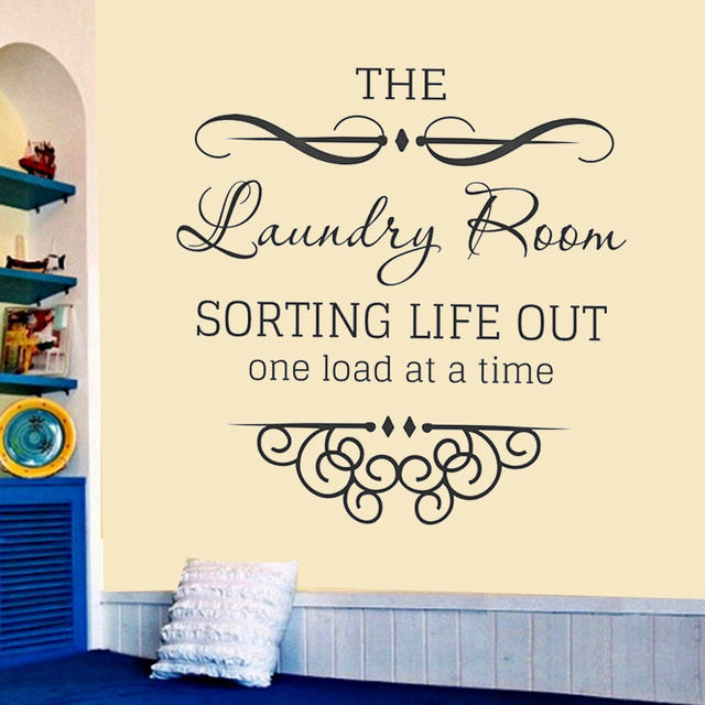 New Arrival Laundry Room Loads Of Fun Wall Art Decals Quote House Decorative Sticker Decor Cursive