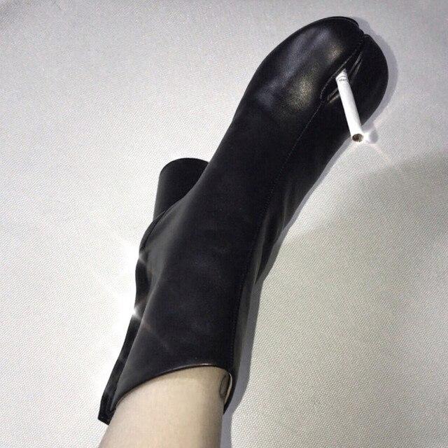 2d9f0eafa6 US $140.0  New Designer Tabi Women Boots Chunky Heels Leather Women Ankle  Booties Split Toe Bottines Femmes Runway Botas Mujer Ladies Shoes-in Ankle  ...