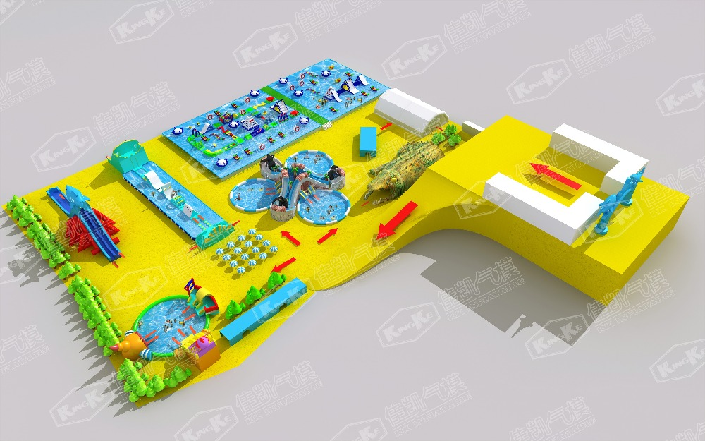 Affordable above ground swimming pool with inflatable slides