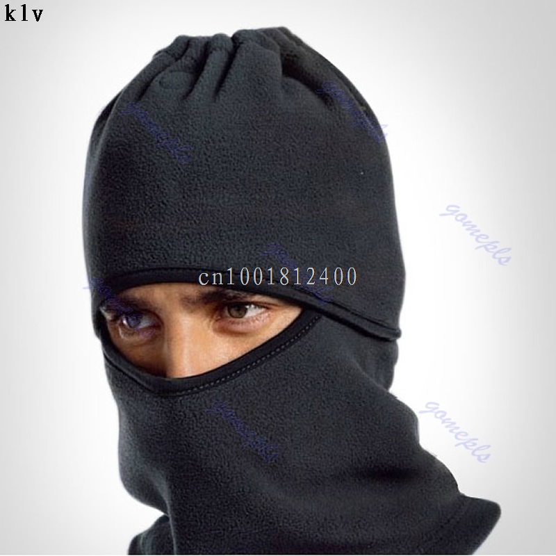 Thermal Fleece Balaclava Hat Snood Hood Police Swat Cycling Face Mask Cover Black sahoo 46864 3 in 1 outdoor cycling warm polyester fleece hat face cover for men black xl
