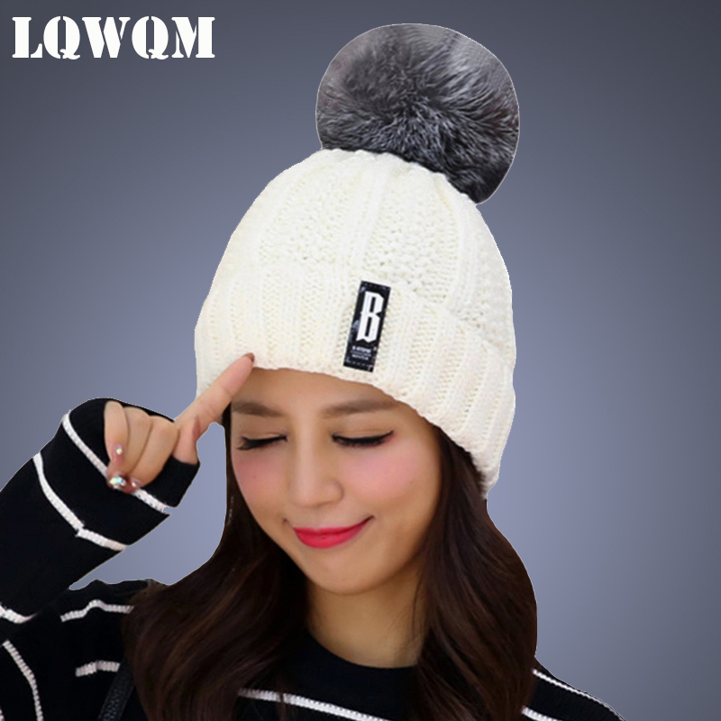 LQWQM new personality fashion hats for women winter hat beanies cap girl pom poms skullies knitting hat scarf female cap xthree real mink fur pom poms knitted hat ball beanies winter hat for women girl s hat skullies brand new thick female cap