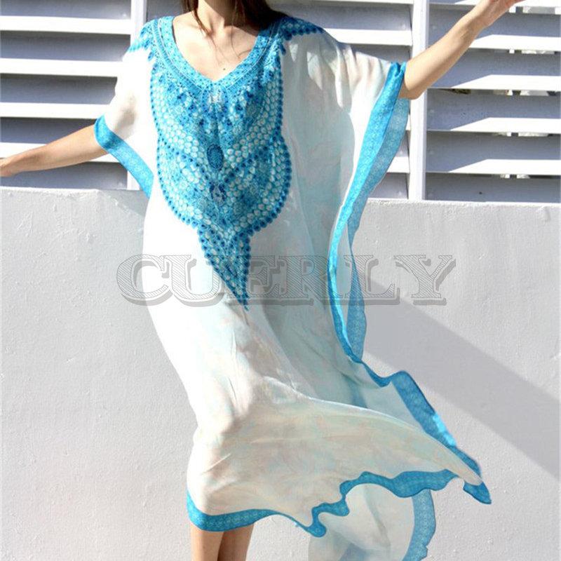Ameision décontracté Oversize bohème imprimé caftan Robe de plage tunique de grande taille femmes d'été vêtements de plage demi manches Maxi Robe