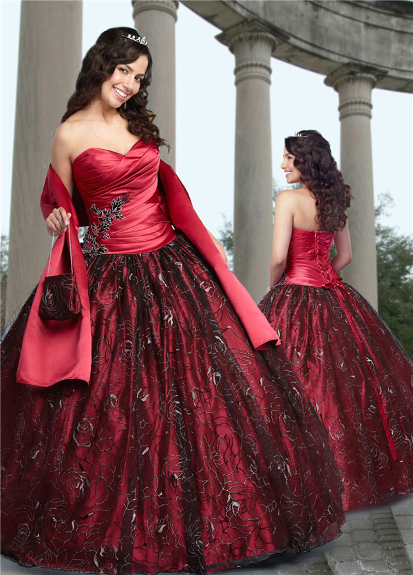 High Quality Red Black Quinceanera Dresses-Buy Cheap Red Black ...