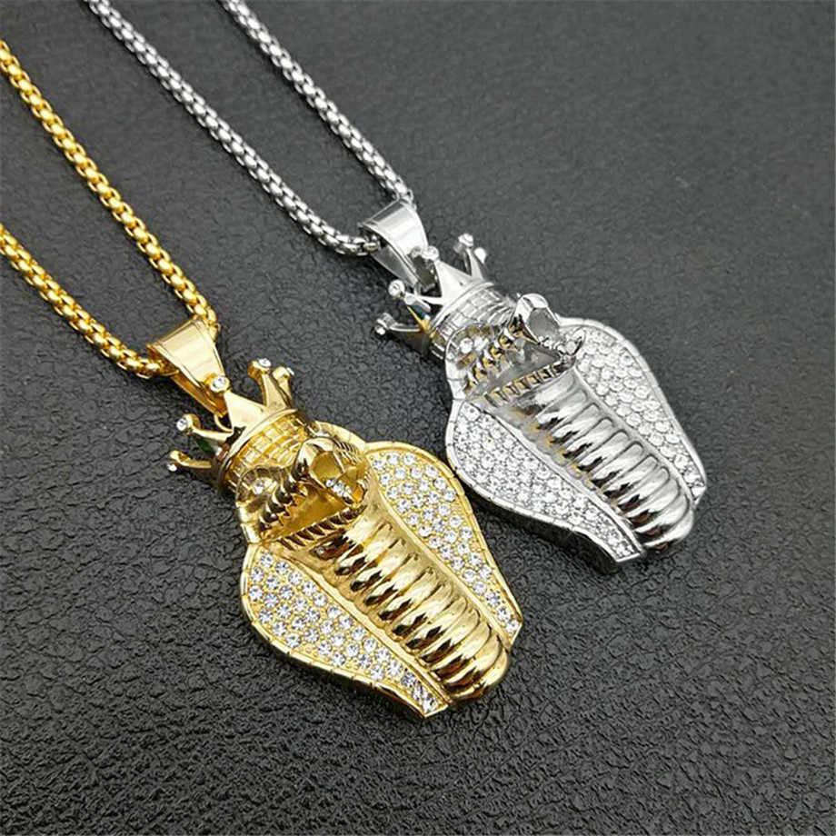 Hip Hop Iced Out korona Cobra wisiorek naszyjnik dla mężczyzn złoty kolor ze stali nierdzewnej egipski biżuteria mężczyzna prezent