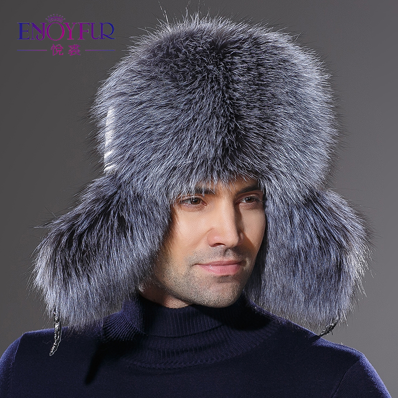 Winter New Arrival Real Fur Hat For Men Genuine Leather Cap Natural Fox Fur Hat For Men Protect Ear Hot Sale