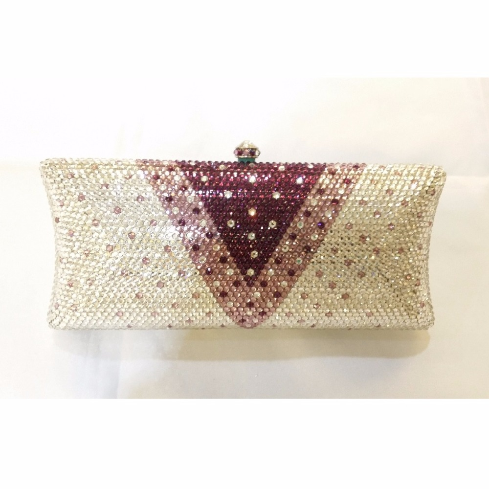 ФОТО S7735V purple Crystal Lady fashion Bridal Metal Evening purse clutch bag case handbag box