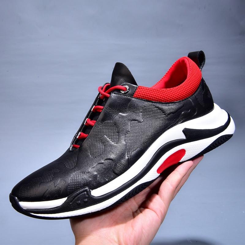 De Moda Botas Homens Casuais Lazer Sneaker Couro Nova Sapatos Respirável Genuíno Jogo Do Todos 2018 Os Dos dwqvIdaz