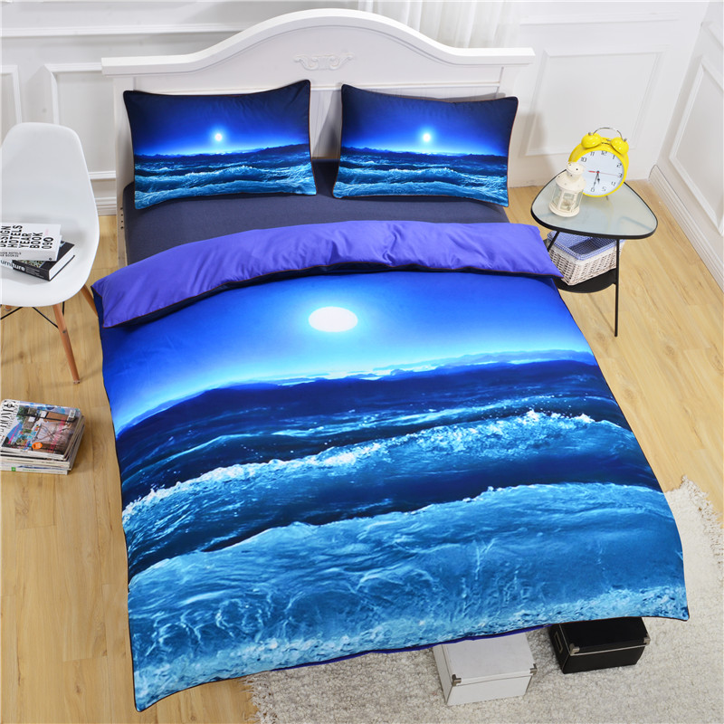 3Pcs Bedding Set For Twin Full Queen King Bed Blue Sea Moon Printed Duvet  Covers Cotton Blend Bed Linen Pillow Case Bedding Kit In Bedding Sets From  Home ...