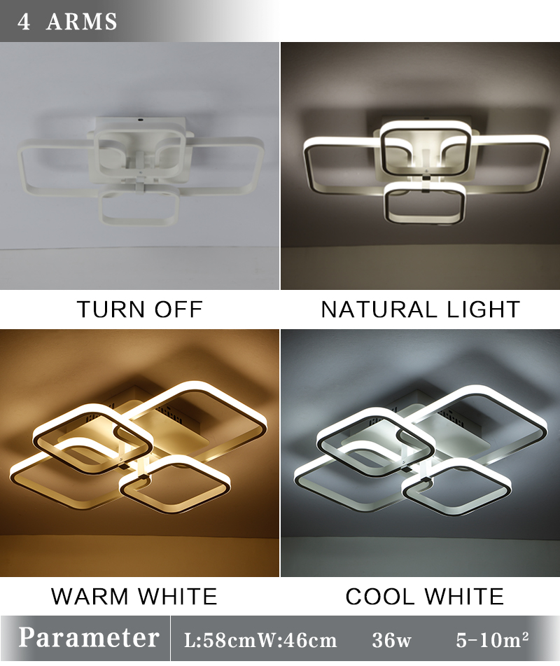 New Square Rings Frame Modern Led Ceiling Lights For Living Room Bedroom White Or Black Arms Ceiling Lighting Fixtures AC85-260V