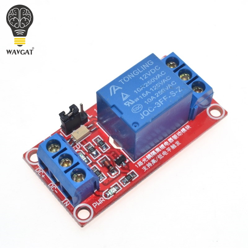 Un bouclier de carte de Module de relais 12V à 1 canal avec Support optocoupleur déclencheur de haut et bas niveau pour Arduino WAVGAT