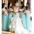 Sexy Sweetheart Chiffon Mint Green Long Bridesmaid Dresses 2016 Cheap Wedding Party Dresses Pleats Turquoise Bridesmaid Dresses