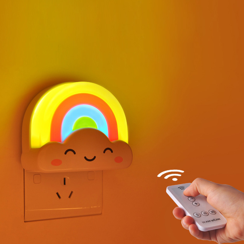 Colorful Rainbow LED Baby Kids Night Light Plug In Wall Light Lamp Home Room Decoration birthday Gifts with remote controller