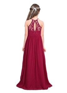 Image 3 - Tiaobug רקום פרח בנות שמלת הלטר שרוולים כלה חתונה לנשף מסיבת אירוע רשמי בגיל ההתבגרות רצפת אורך שמלה