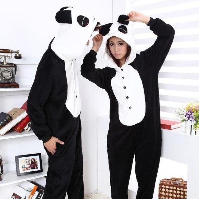 22a4cd521a99 Flanella fleece Furry Panda Onesies Costume di Halloween Cosplay Animal Pigiama  One Piece Adulto Donna Uomo