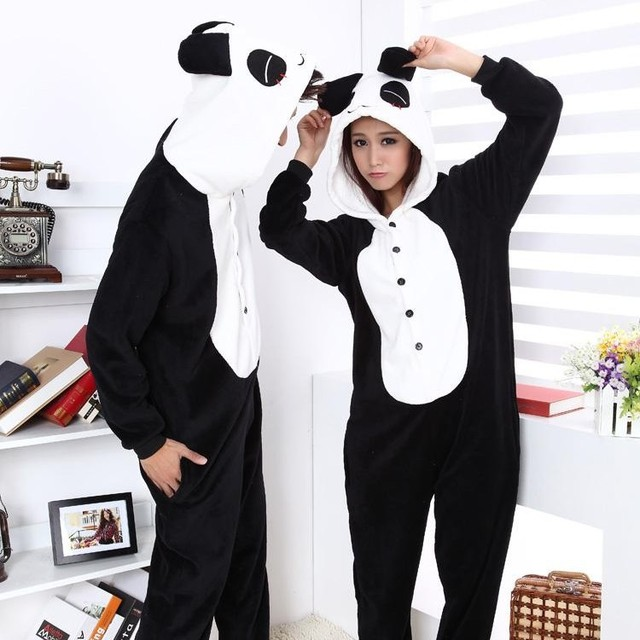 Flannel fleece Furry Panda Costume Onesies Halloween Animal Cosplay Pajamas  One Piece Adult Woman Man Pyjamas Sleepwear Winter 63afd2d6cac4