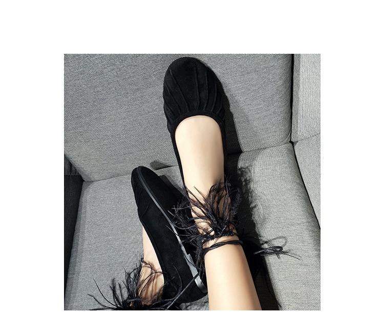 Bout Noir Cakucool Plumes Chaussures Mujer Femmes Appartements liée Sexy Nouveau Pointu Plat Cravates Casual Croix Ballet Strap Zapatos 76zr7qw