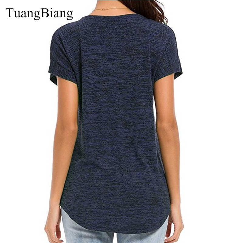 2019 女性半袖ジッパー春 tシャツ色の綿レディースディープ V ネックフェミニン tシャツルーズストライプ夏セクシーなトップス