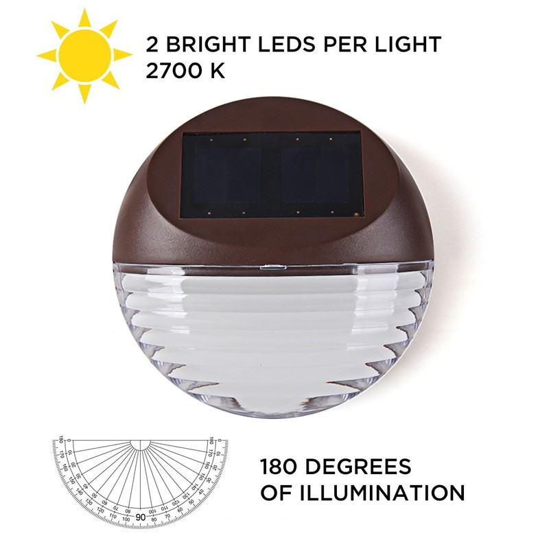 Image 3 - 4pcs/lot LED Solar Light 2LED warm white Waterproof IP55  Outdoor Solar Fence Light Wall Mount LAMP Garden Pathway Wall Lamp-in Solar Lamps from Lights & Lighting