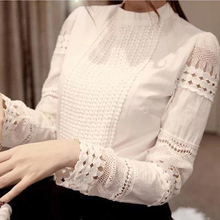 Hot 2016 High Quality Spring Autumn Women's Long-sleeve Blouses Slim Hollow Elegant Lace Shirts White Cotton For Female TP0010