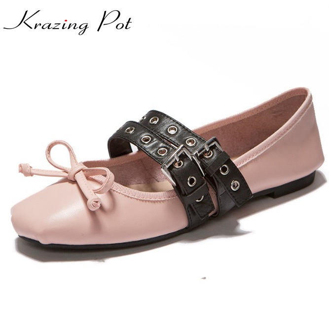 Fashion autumn flat with square toe sexy genuine leather Hollywood star sexy sweet ballet flats lace up women casual shoes L65 front lace up casual ankle boots autumn vintage brown new booties flat genuine leather suede shoes round toe fall female fashion
