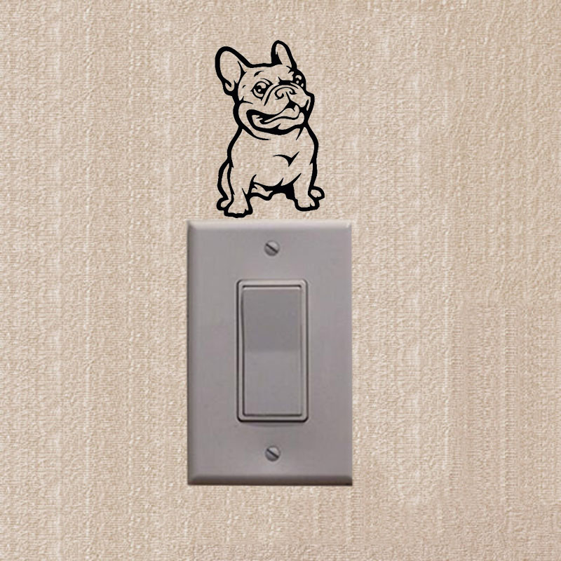 Bulldog Dog Bulldog Switch Sticker Fun Superhero Dog Reflective Wall Stickers 2SS0586
