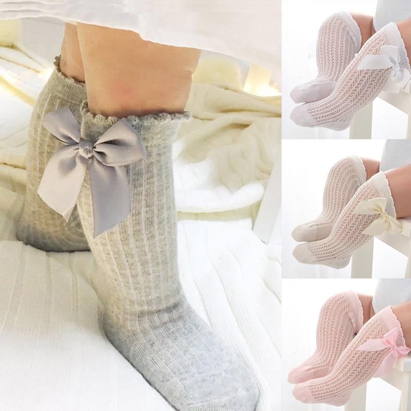 Winter Autumn Baby Girl Socks Meias Infantil Knee High Bows Princess Socks Winter Baby Socks Long Tube Vertical Striped Sokken