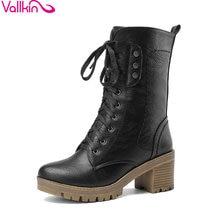 VALLKIN Nouvelle Hiver Chaussures Femme Dentelle Jusqu'à Mi-mollet Boot moto Bottes en cuir PU Bottes D'équitation De Mode Dames Chaussures Taille 34-43