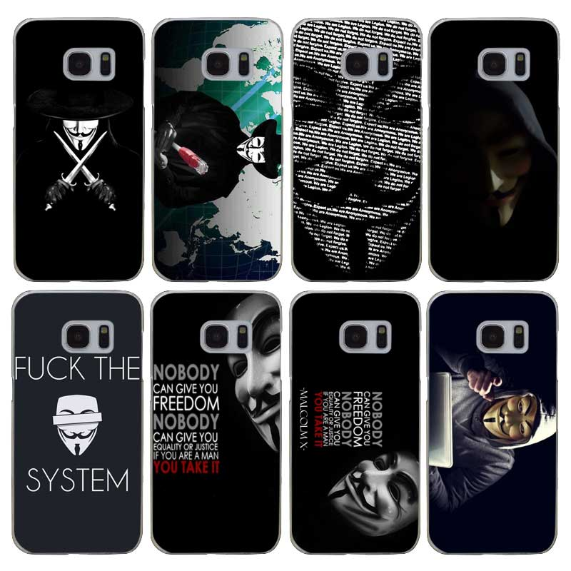 G32 Anonymous Transparent Hard PC Case Cover For Samsung Galaxy S 3 4 5 6 7 8 Mini Edge Plus Note 3 4 5 8