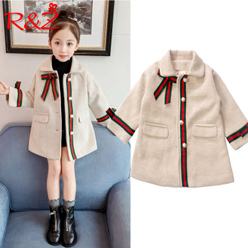 R&Z children's jacket 2019 winter new girls coat Korean version of the long section single row pearl buckle coat woolen coat