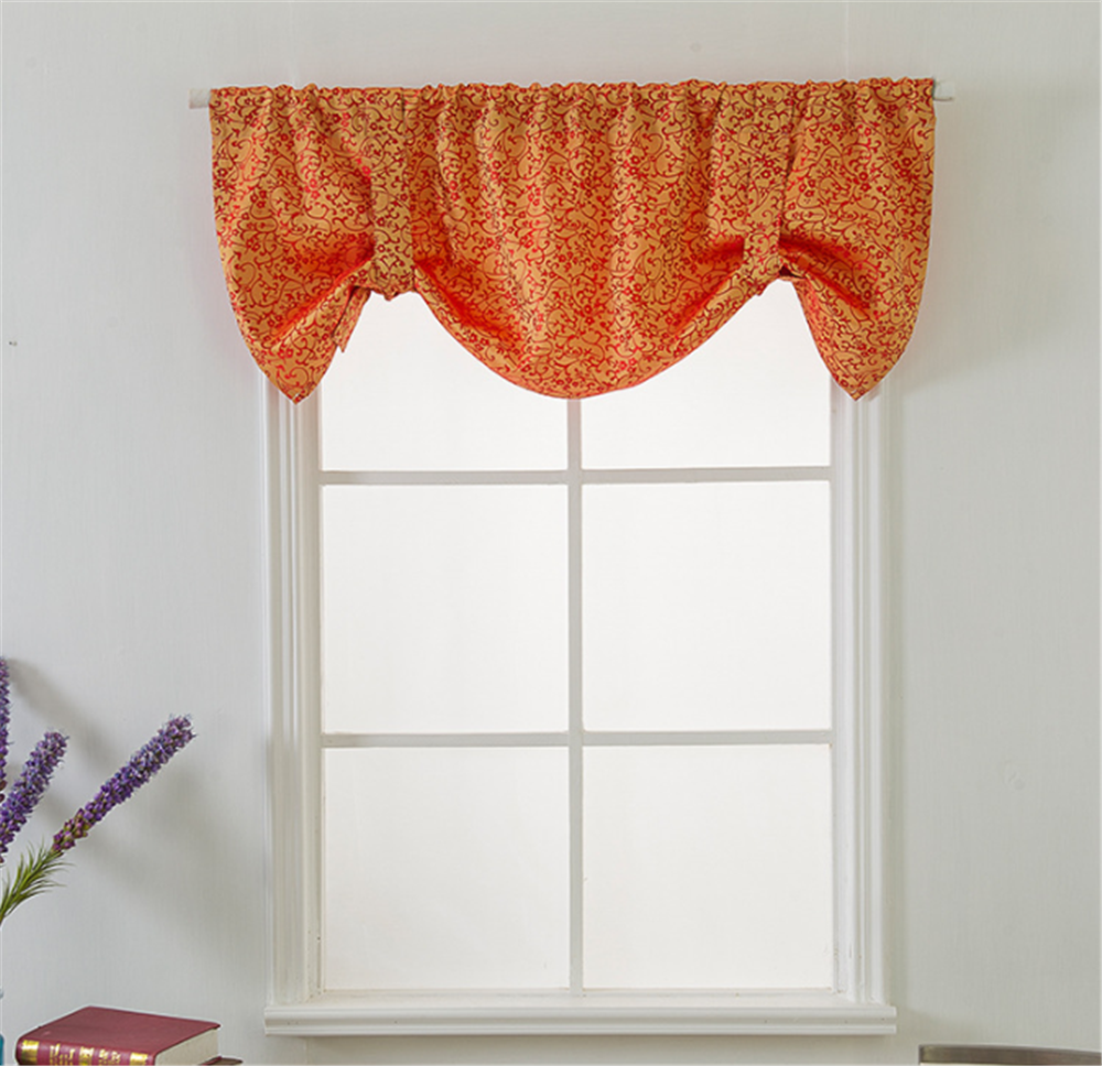 Enipate European Style Double Faced Jacquard Short Curtains Kitchen Door Roman Blinds Blackout Shade Living Room Window Curtains
