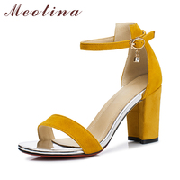 Meotina Sandals Women Shoes Summer Suede Genuine Leather Sandals Ankle Strap Square High Heels Dress Shoes