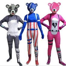 Game Cuddle Team Leader Pink Bear Costumes Cosplay Panda Jumpsuit Harror Latex Mask