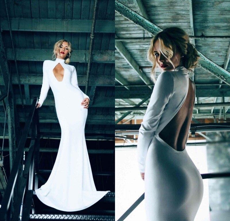 White Elegant Mermaid Long   Evening     Dress   2017 New long sleeves sexy backless high neck prom   dress   vestido de festa formal   dress