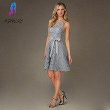 Einfache Sliver Spitze Kurze Cocktailkleider Abend Party Kleid Zurück Reißverschluss Tasten Formale Frauen Kleiden