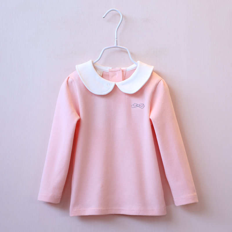 High Quality 2018 Children Clothing Bow Embroidery Doll Collar Shirt Kids Baby Clothes Tops Cotton Long Sleeve Tshirts For Girls