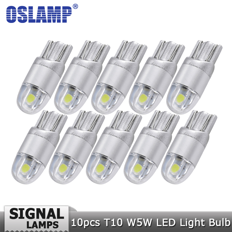 Oslamp 10pcs/lot T10 W5W 194 Car Led Signal Light Bulb White 12v Clearance Light Turn Signal Light Reading Dashboard Door Light gzkafolee 10pcs clearance lights t10 w5w led turn signal car lights 12v 5630 smd 100lm 5w