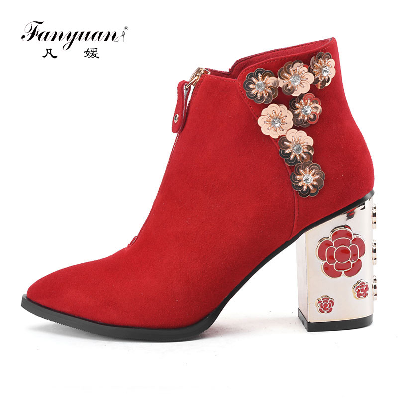 Fanyuan Women Ankle Boots Red Suede Leather Flower Top Quality Chunky Heel Luxury Ladies Boots Party Wedding Short Zipper Boots chunky heel suede tie up short boots