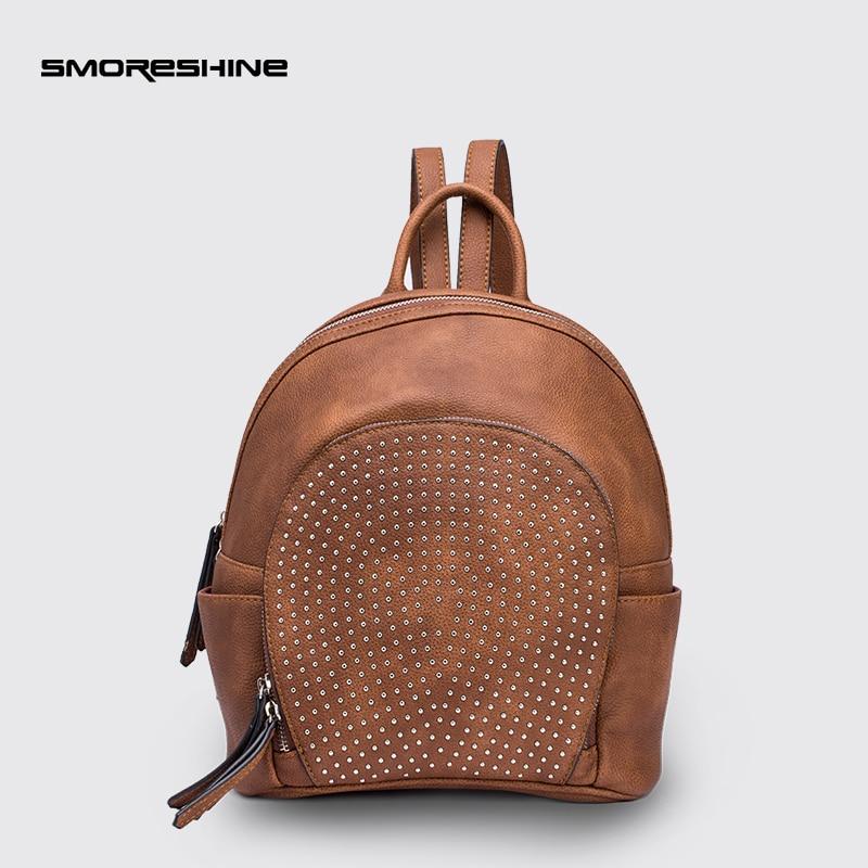 SMORESHINE Women Backpack High Quality PU Leather Backpacks for Teenage Girls Female Rivet School Shoulder Bag Bagpack mochila бензопила hammer flex bpl 2512 b
