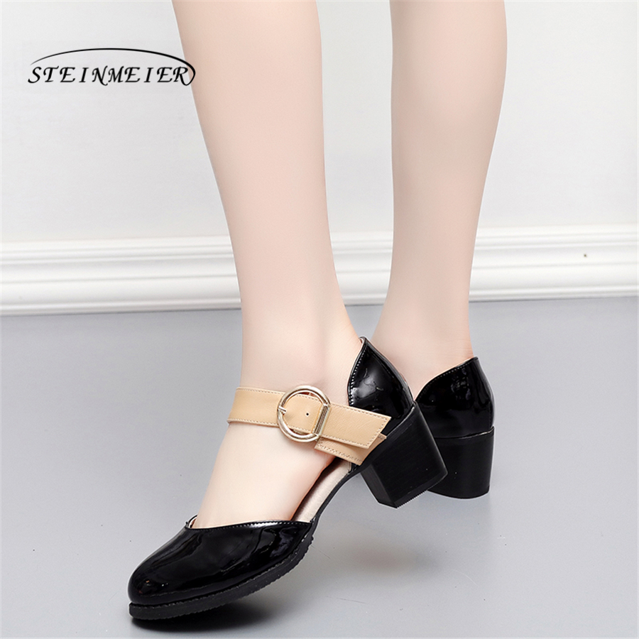 Women genuine Leather summer sandals shoes 5cm thick heel handmade round toe oxford shoes for women sandals white black buckle