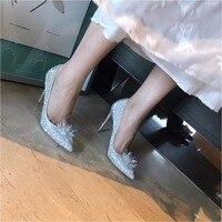 shaduo 2018 Rhinestone High Heels Cinderella Shoes Women Pumps Pointed toe Woman Crystal Wedding Shoes 10cm best quality