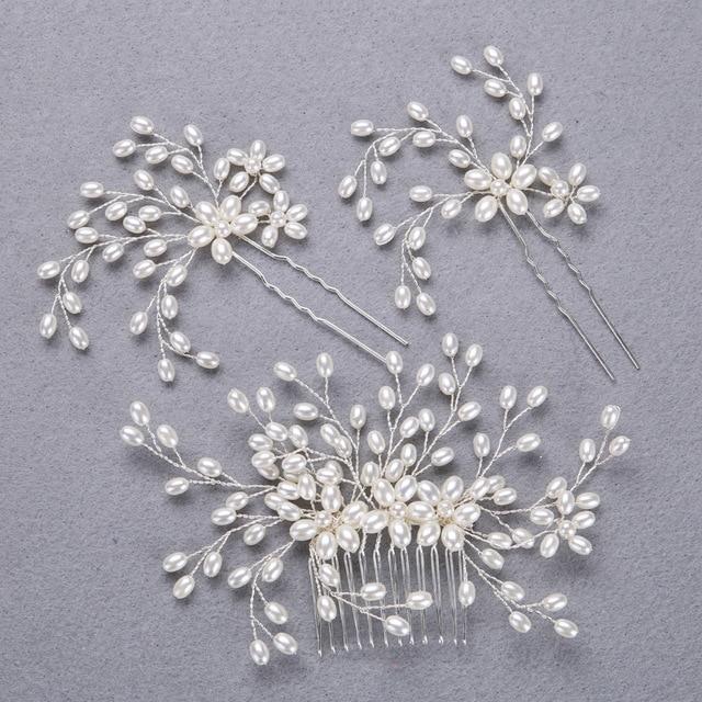 wedding hair jewelry 3pc pearl hair pins wedding comb handmade gold silver fashion women headwear