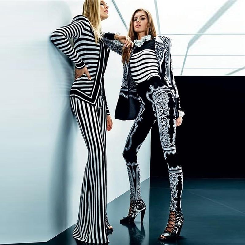 HIGH STREET New Fashion Runway 2018 Designer Suit Set Women's Striped Tops Jacket Flare Pants Suit Set