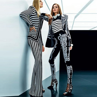 HIGH STREET New Fashion Runway 2018 Designer Suit Set Women's Striped Tops Jacket Flare Pants Suit Set