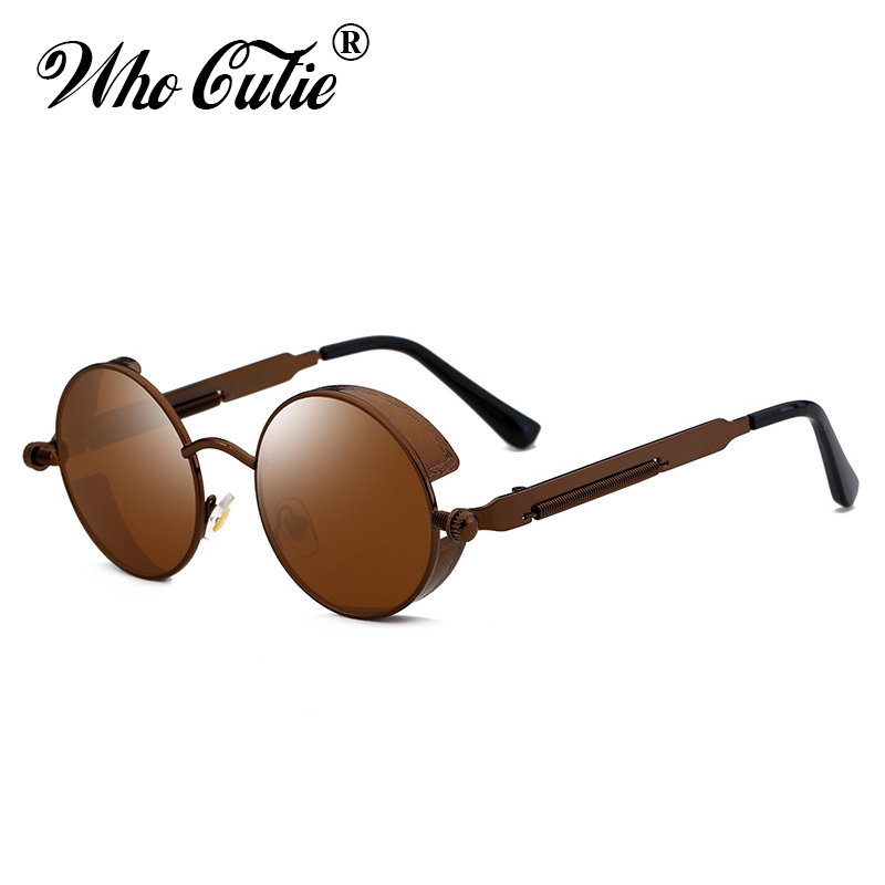WHO CUTIE 2018 Round Shades Gothic Steampunk Sunglasses Men Women Brand Designer Rose Gold Pink Mirror Punk Male Sun Glasses 418 1