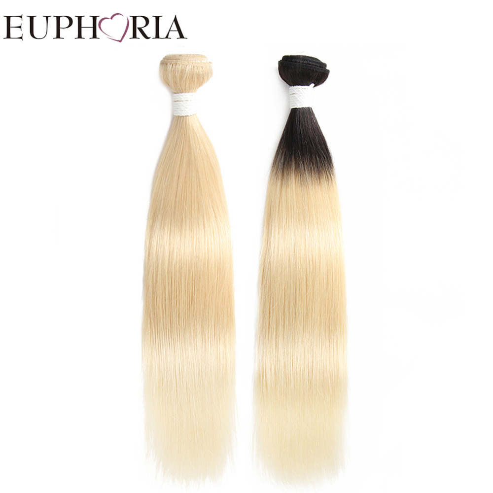 Brazilian Hair Weave Bundles EUPHORIA Ombre Black Blonde 613 Color Remy Straight Human Hair Bundles Weft Extensions 1/3 Pieces