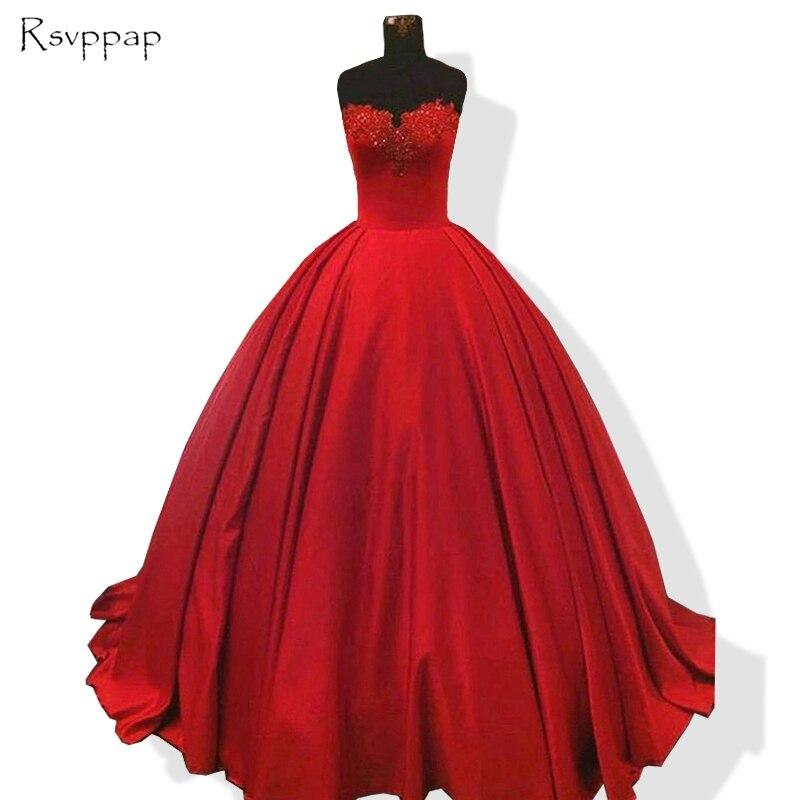 Long Evening Dress 2018 Puffy Ball Gown Sweetheart Beaded Applique ...