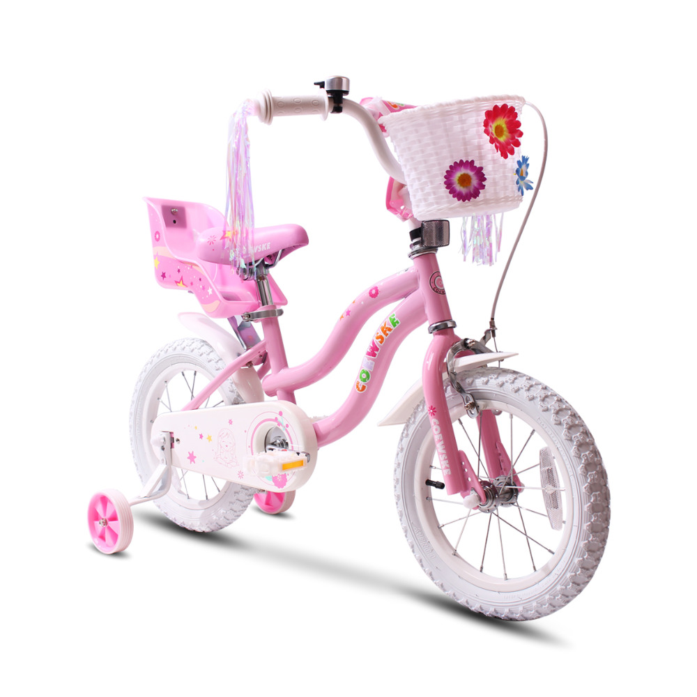 """Kids Bike 12/"""" Steel frame and fork white tyre bicycle for 3-5 years old princess"""