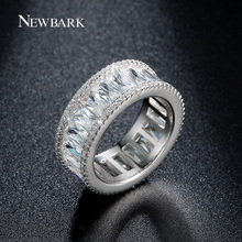 NEWBARK Channel Ring Minimalist Rings For Women Silver Color Tiny CZ Anillos Mujer Women Jewelry Bijoux Femme
